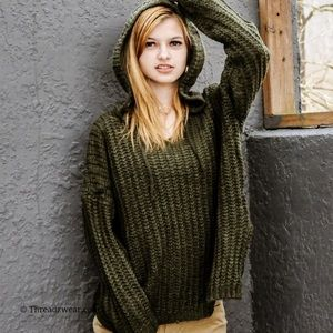 Olive Green Hooded Knit Sweater